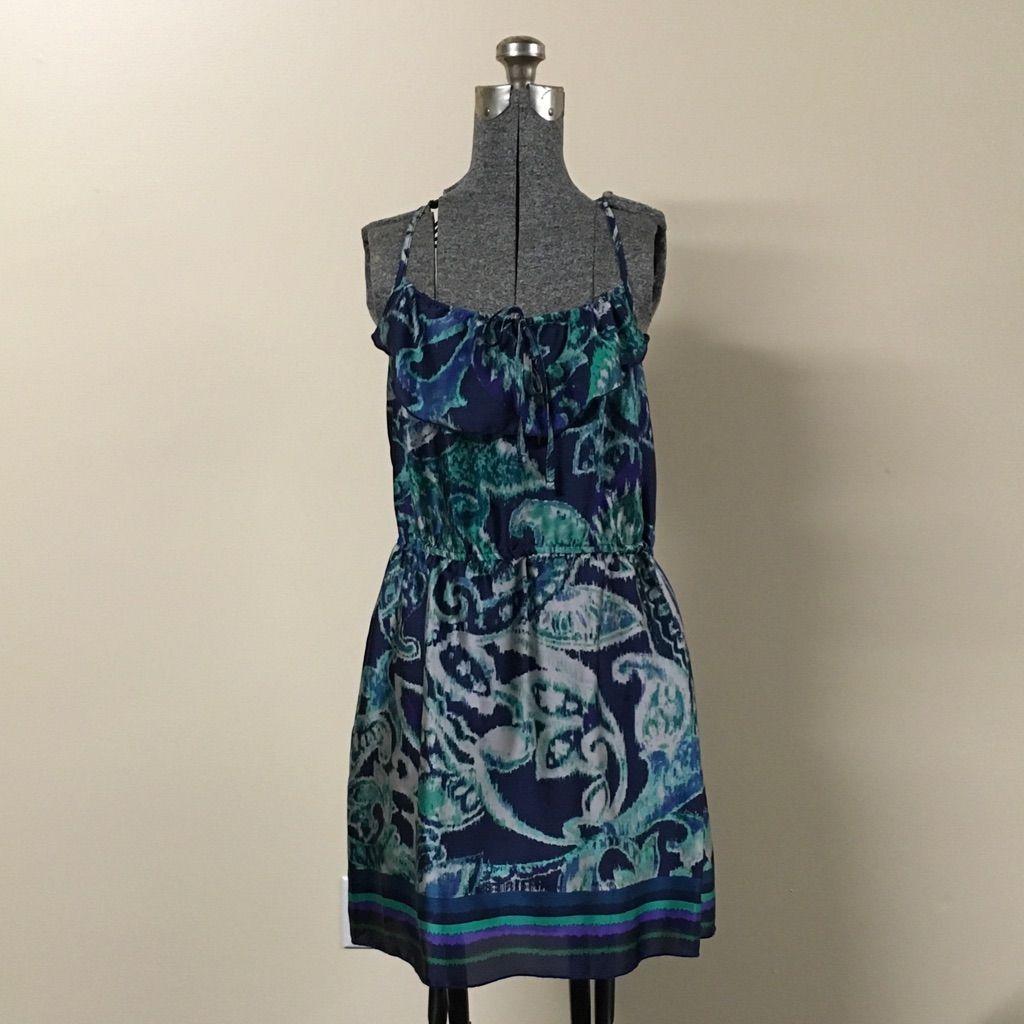 Blue & Teal Green Crochet Back Dress