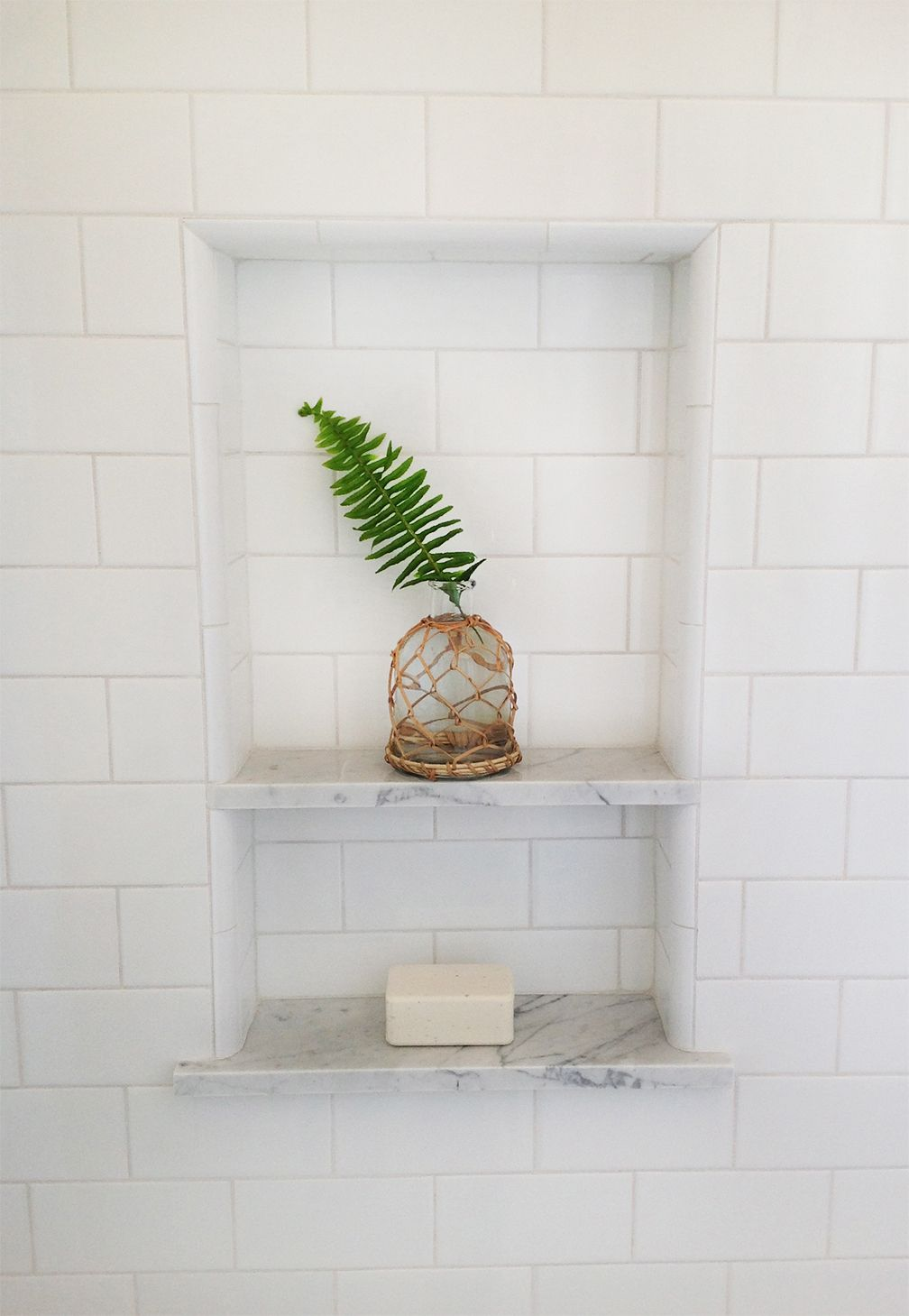 Shower Niche White Subway With Marble Shelves Tile Shower