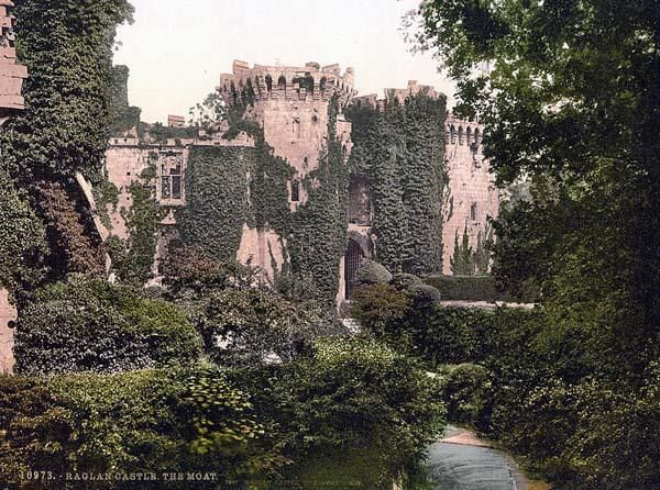 The moat, Raglan Castle, England. This color photochrome print was taken between 1890 and 1900 in Castle, England.