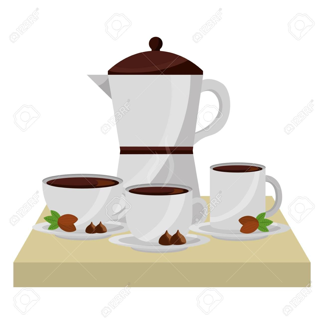coffee maker and cups on dish beans and chips vector illustration