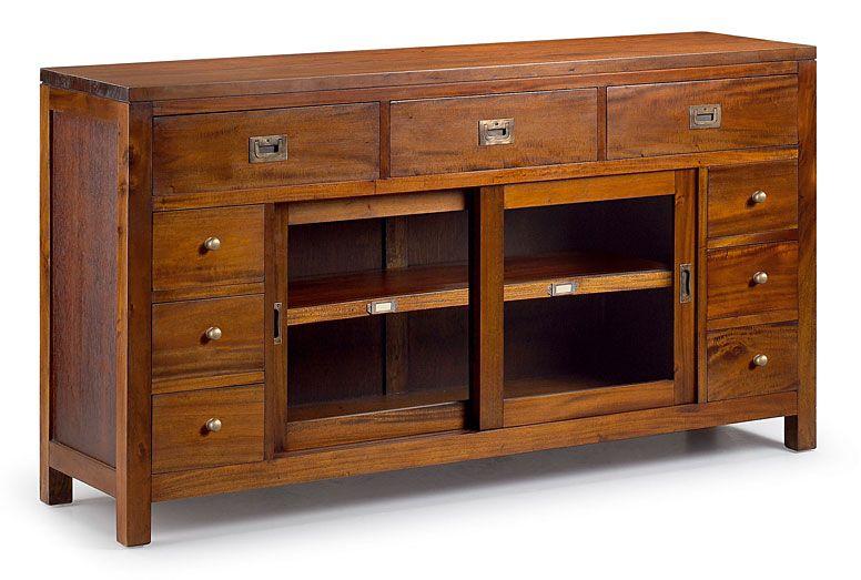 Credenza Con Dos Puertas Corredizas : Buffet puertas correderas cajones chests muebles