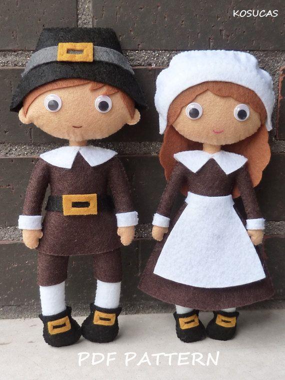 PDF pattern to make a felt pilgrims | Doll-Alternate Dolls | Pinterest