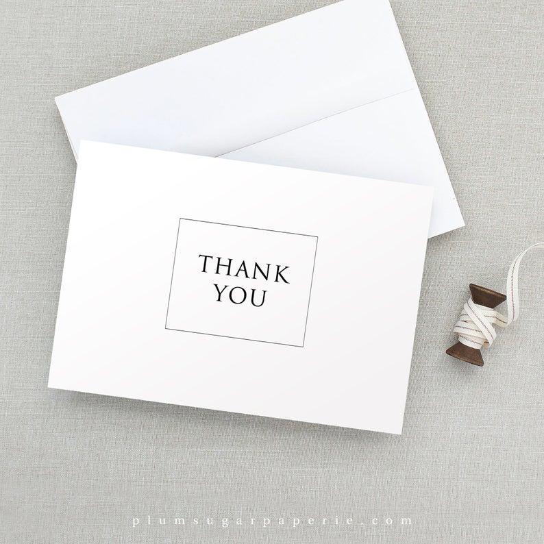 Wedding Thank You Card Printable Template Modern Minimalist Etsy Wedding Thank You Cards Wedding Thank You Thank You Cards