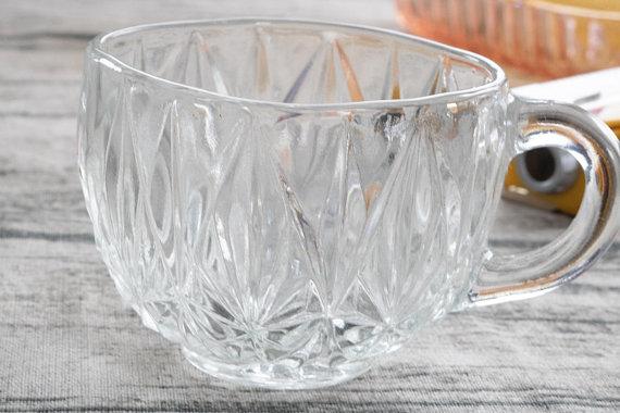 Vintage Crystal Punch Gl Set Of 9 Clear Mug Glware Etched Pressed