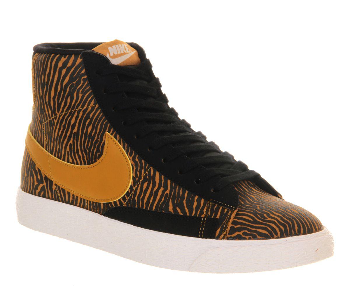 original jeu Nike Blazer Salut Suède Impression Vintage Échelle De L'or  Noir fiable à