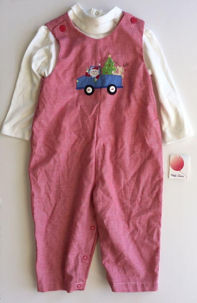 Petit Ami Christmas Longalls Baby Boy Santa Claus Reindeer Outfit Set 18M #PetitAmi #Holiday