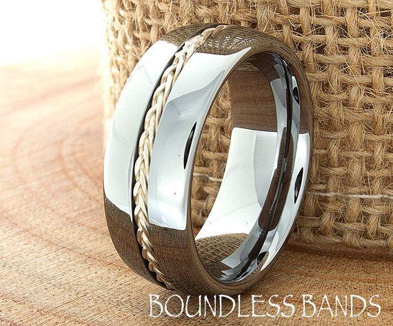 Braided Tungsten Ring Custom Laser Engraved Tungsten Ring Couple