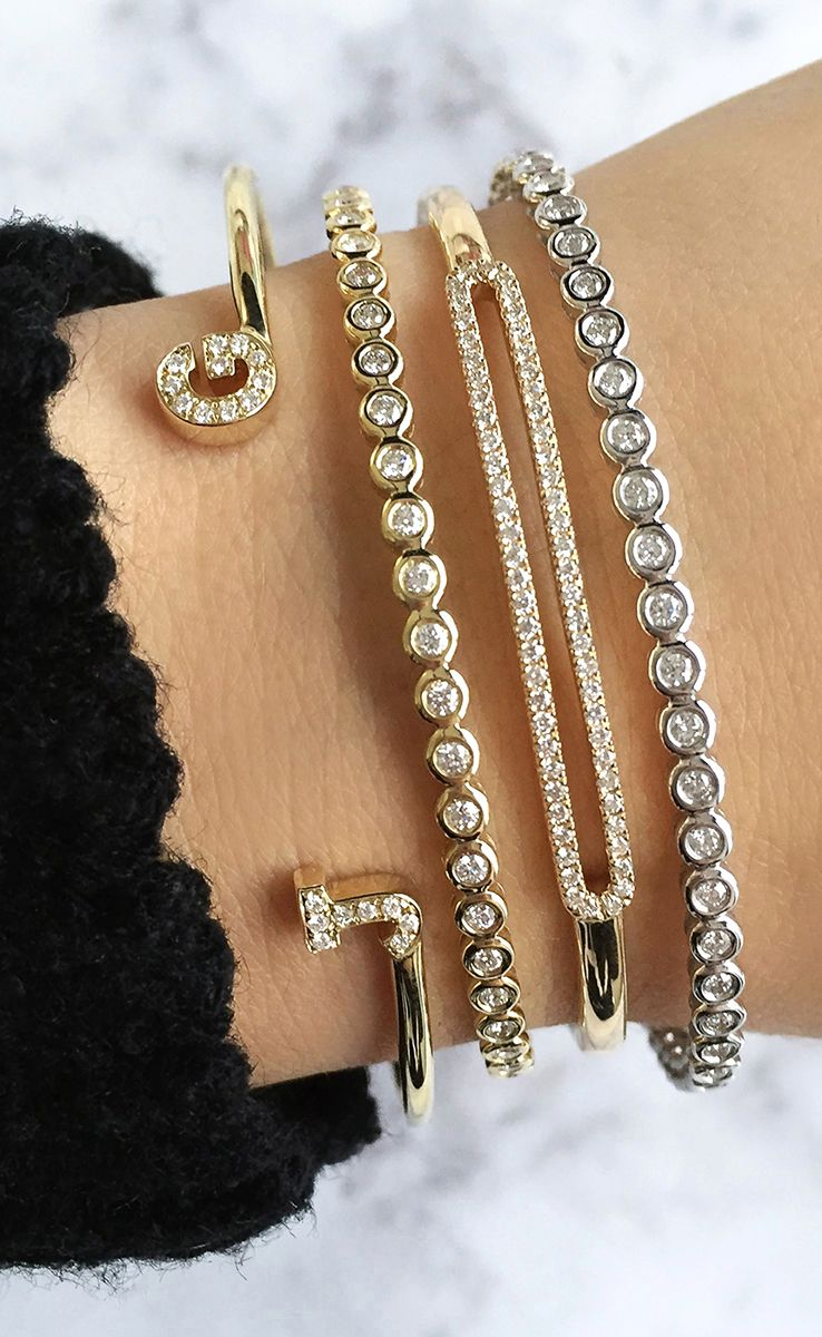 gold a diamond upon shop thin white bangles in with collections bangle once her bracelets bracelet baguettes