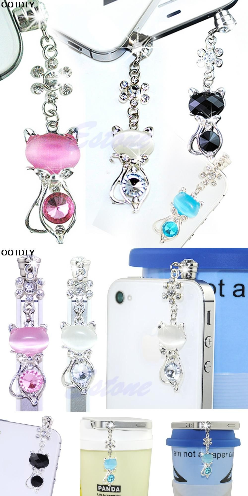 3.5mm Jack Cat Crystal Dust Plug Anti Earphone Cap Stopper For iPhone 6 for  Samsung 9ca5c21ab2dc