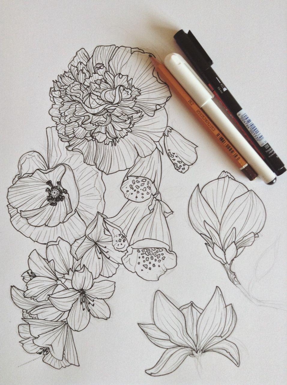 flower drawing | Tumblr | Flower drawing, Flower drawing ...