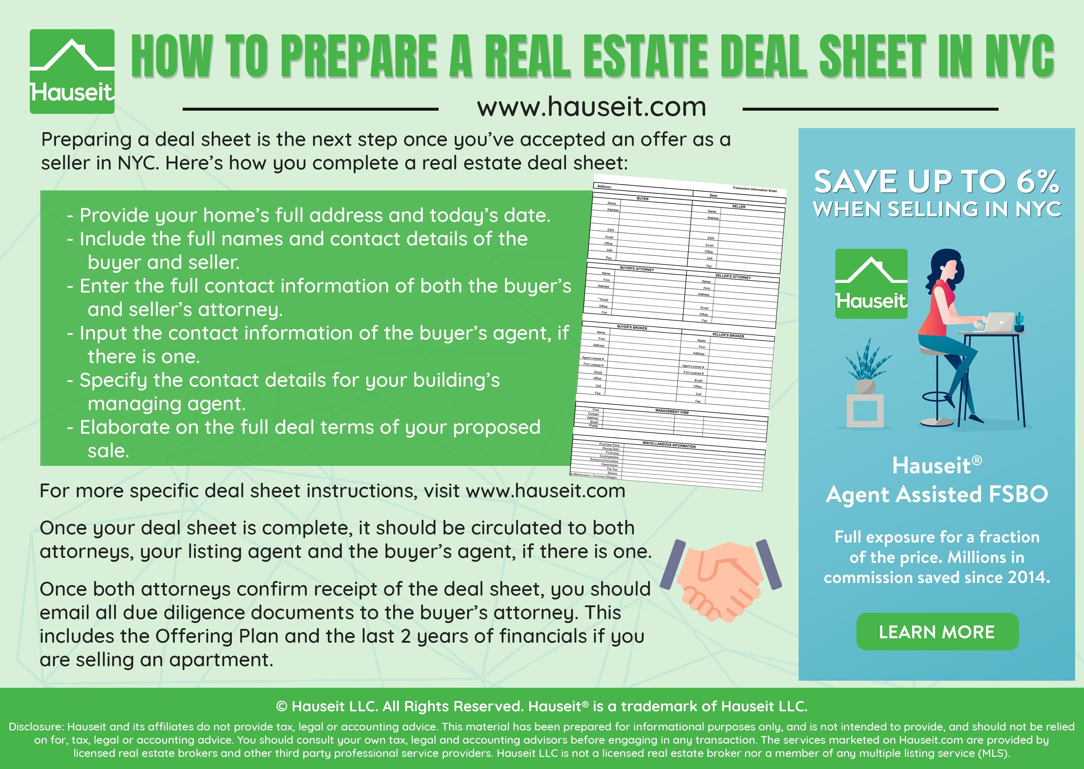 A Real Estate Deal Sheet Is Typically Prepared And Circulated Once