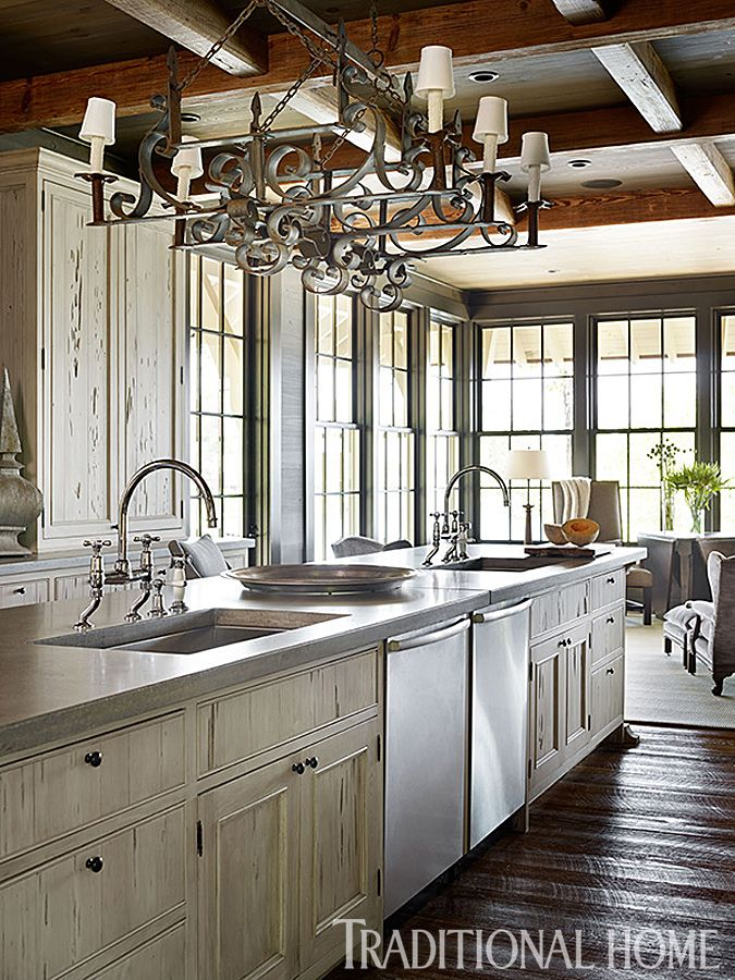 Gracious lakeside home traditional home interiors by for Rustic lake house kitchens