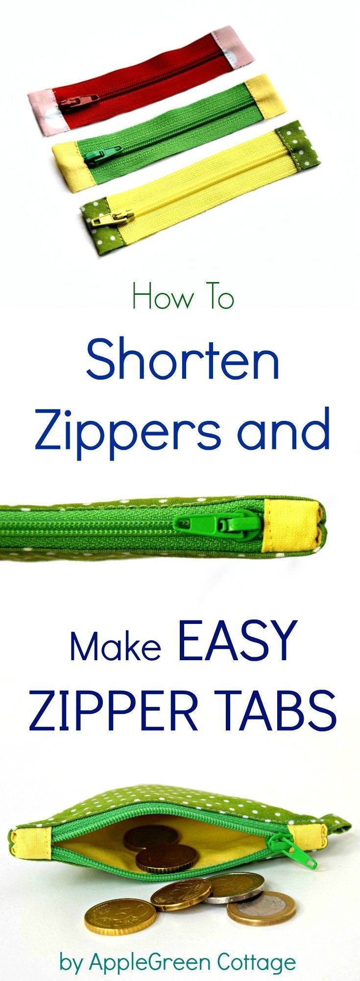 How To Shorten A Zipper  And Add Zipper Tabs - Sewing hacks, Sewing techniques, Easy sewing, Beginner sewing projects easy, Sewing projects for beginners, Sewing for beginners - Learn how to shorten a zipper and how to make zipper tabs  the easy way!