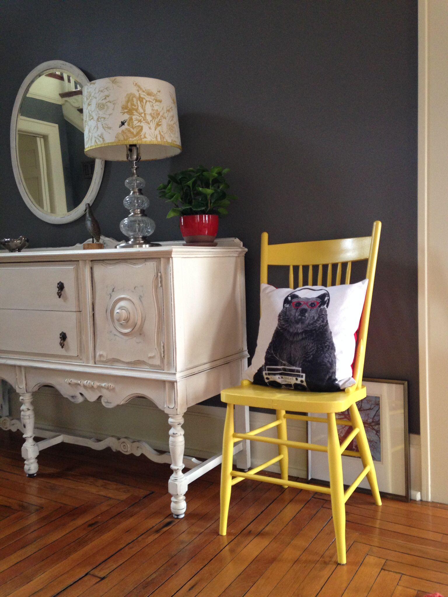 Diy yellow chair cb2 pillow anthropologie lamp shade