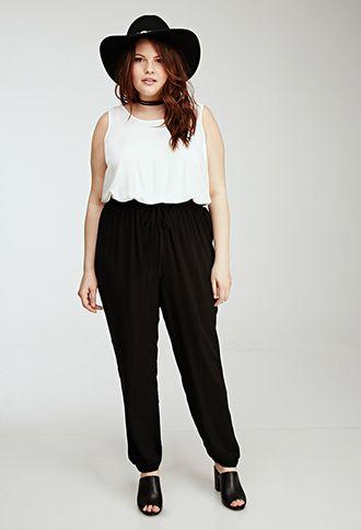black and white jumpsuit | forever 21 plus | plussize | plussize