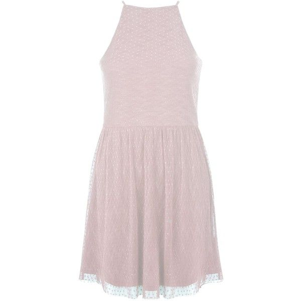 New Look Teens Shell Pink Mesh Pleated Skater Dress ($25) ❤ liked on Polyvore featuring dresses, shell pink, pink skater dress, mesh skater dress, skater dress, high neck skater dress and mesh dress