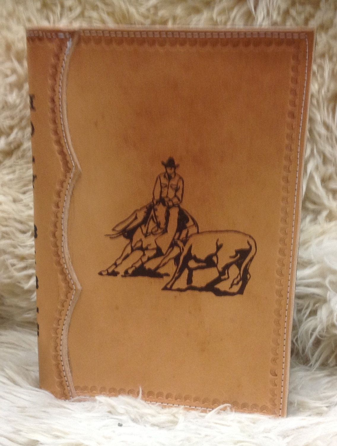 Handcrafted Laser Engraved Cowboy Cutter All Leather Bible Cover by MyBrandedCreations on Etsy