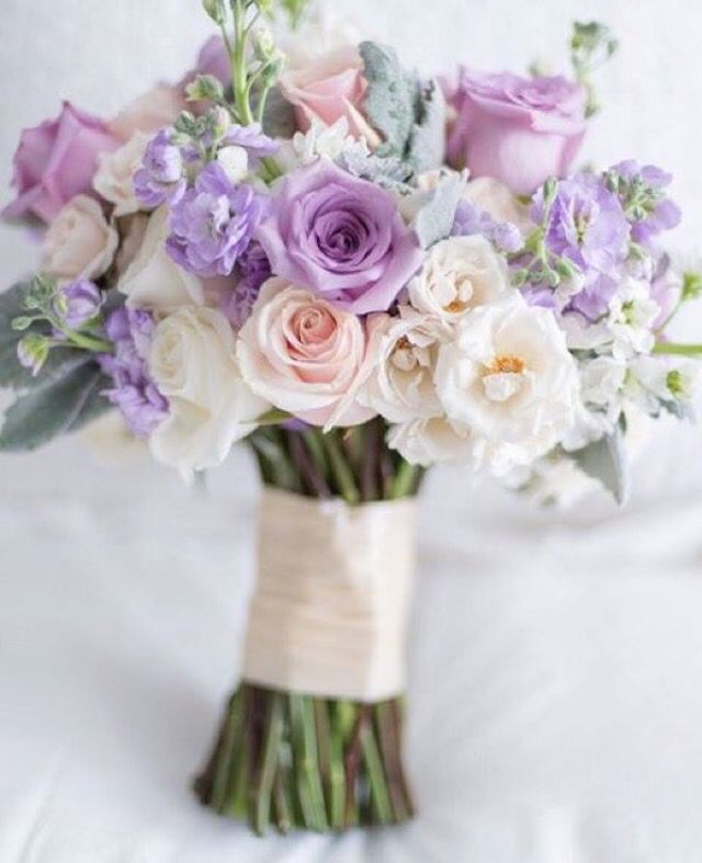 Purple And Pink Wedding Flowers: Lavender, Blush, And White Bouquet By Rachel A. Clingen