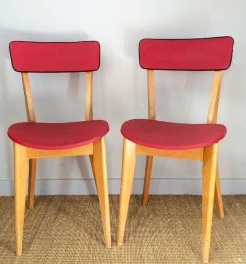Chaises En Skai Vintage Paire De Chaises En Skai Rouge Annees Soixante Chaise Vintage