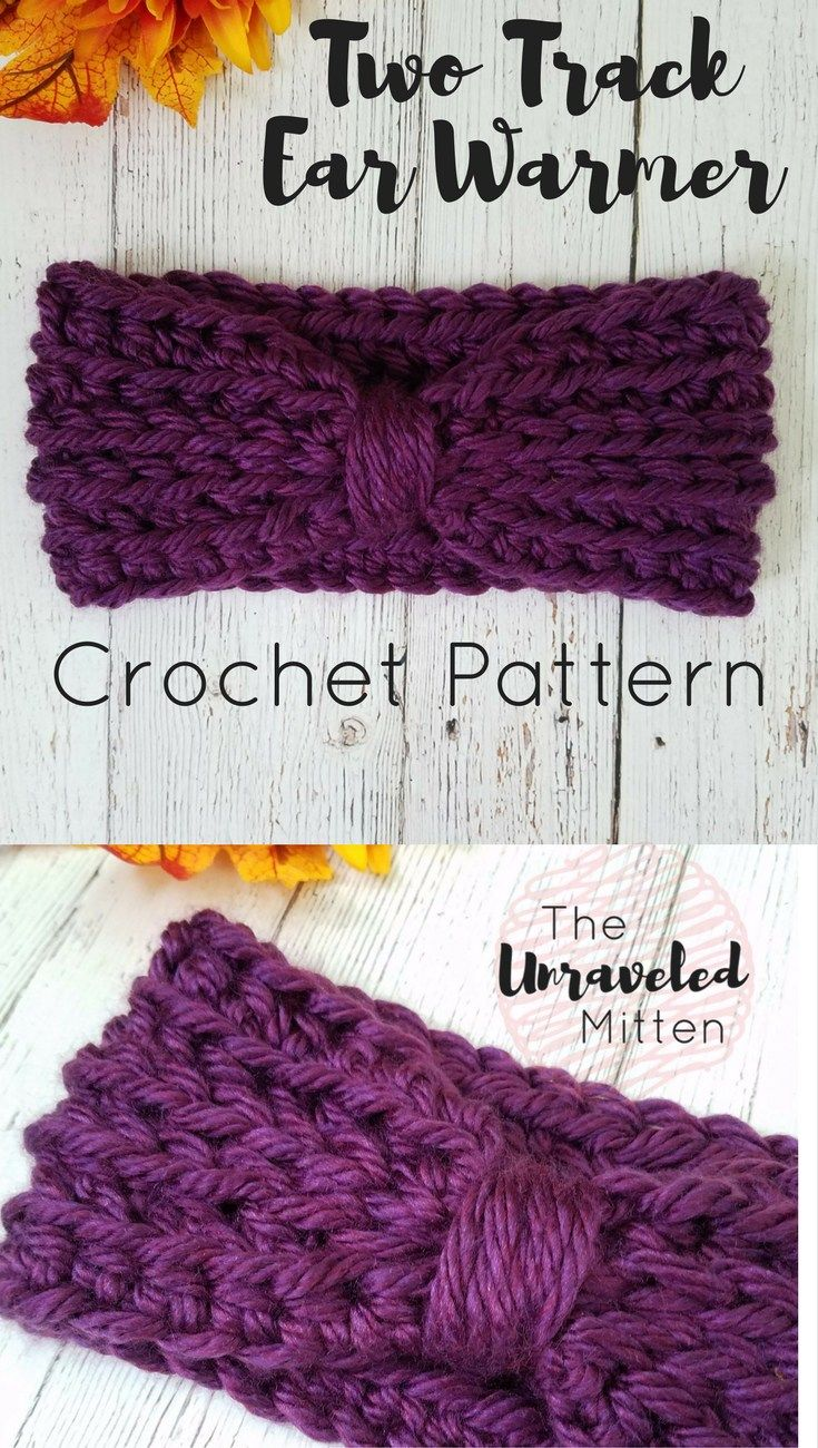 Two Track Ear Warmer Crochet Pattern | Easy crochet patterns, Easy ...