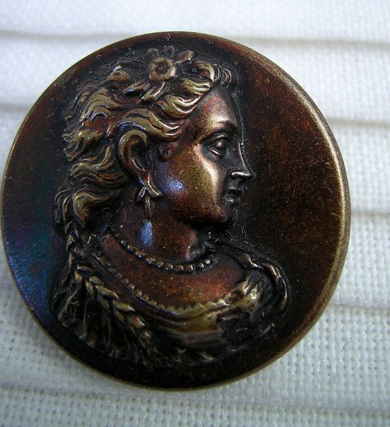 Fancy Lady Repousse Picture Story BUTTON: Victorian by Buttongal