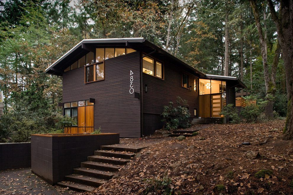 Gable roof modern exterior midcentury with window wall