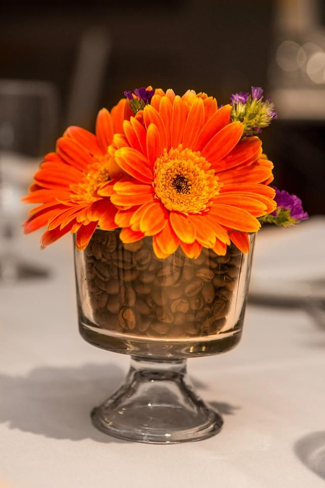 www.paulduboisphotography.com coffee bean bridal shower centerpiece with flowers