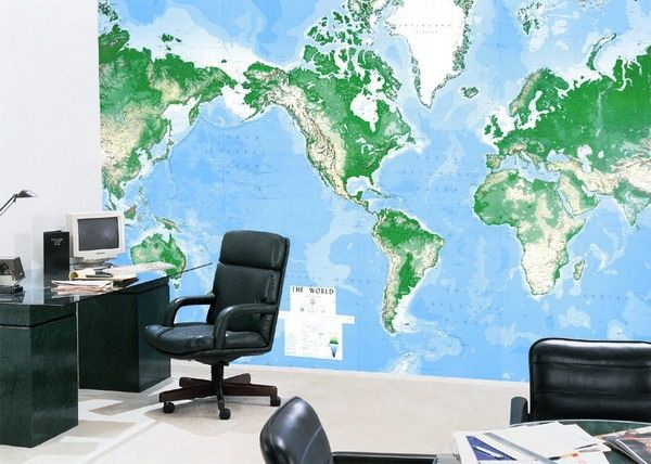 World Map Office Wall Murals Ideas Books Worth Reading Pinterest - World map for office wall