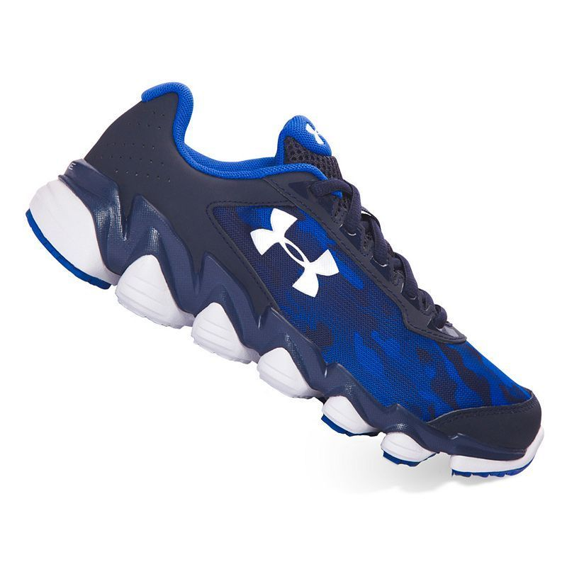 a57bf1f3aea73 Under Armour Spine Disrupt Grade School Boys' Running Shoes, Blue (Navy)