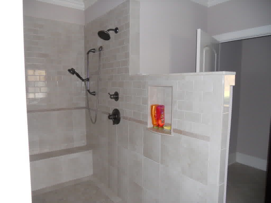 Drawing of walk in shower without door in recent