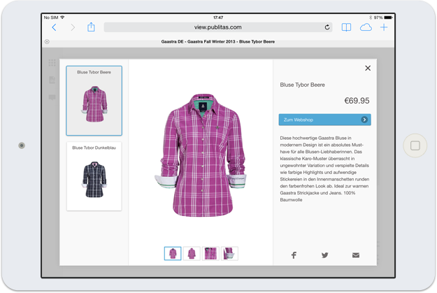 A digital publication on a Mac. Catalog online, Online