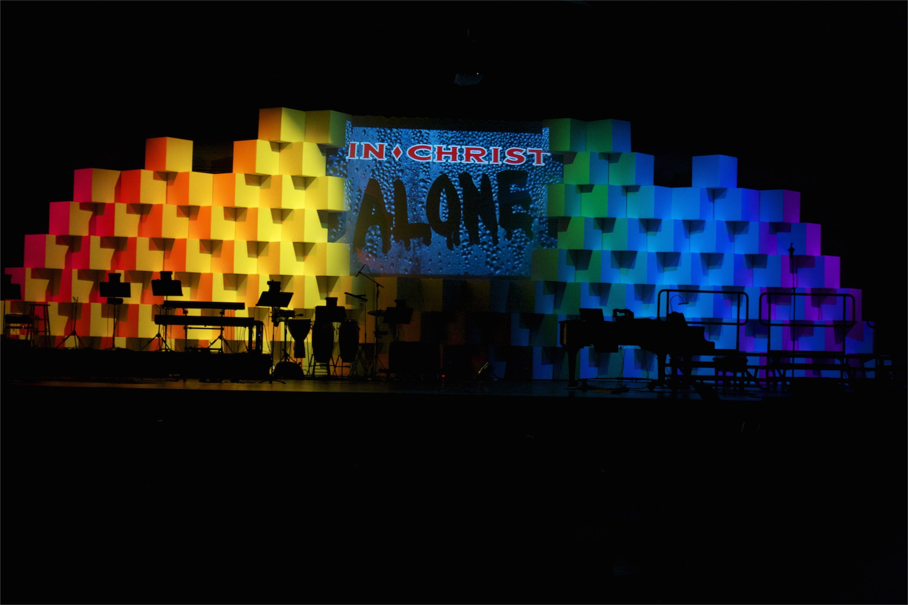 Throwback Rainbow Boxes Stage design, Church stage