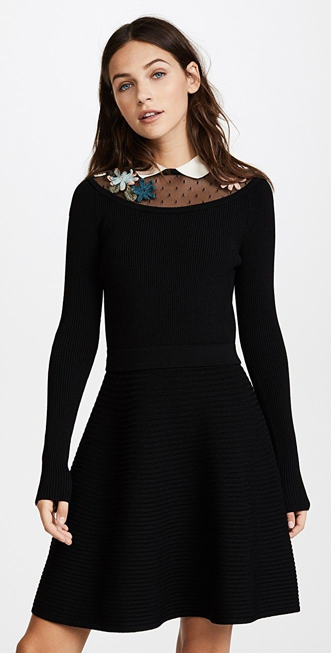 Long sleeve embroidered dress app and detail