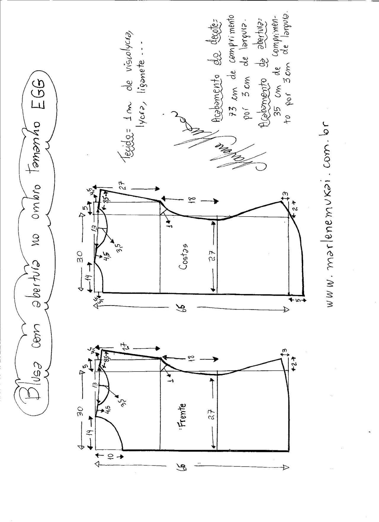 Blusa abertura en el hombro | Patronaje | 裁縫 y 洋服