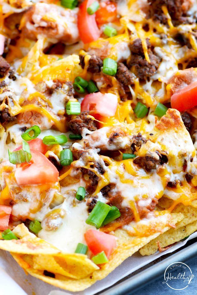 Epic Beef Nachos Supreme Better Than Taco Bell A Pinch Of Healthy Recipe Nachos Supreme Recipe Recipes Nachos Recipe Beef