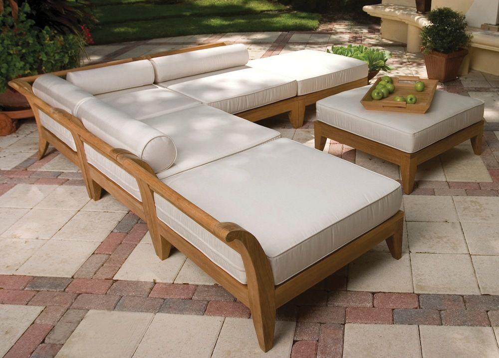 outdoor wood sectional sofa teak