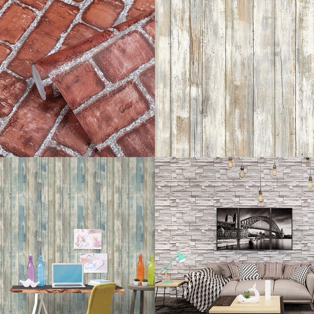Size X3a 45cm 10m X28 17 72 Quot X 32ft X29 Pattern X3a 1 Grey Brick 2 Stone 3 Wood Str Brick And Stone Wall Stickers Wallpaper Grasscloth Wallpaper