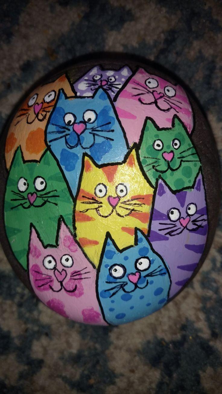 Bunte Katze gemalter Stein #steinebemalenanleitung