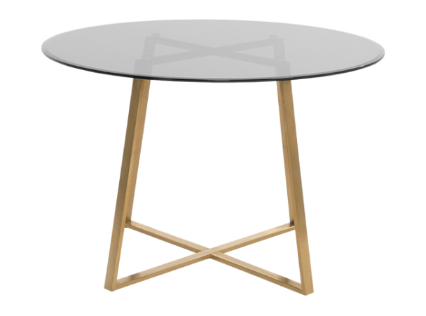 Haku Round Dining Table Brass And Smoked Glass Large Dining Table Glass Round Dining Table