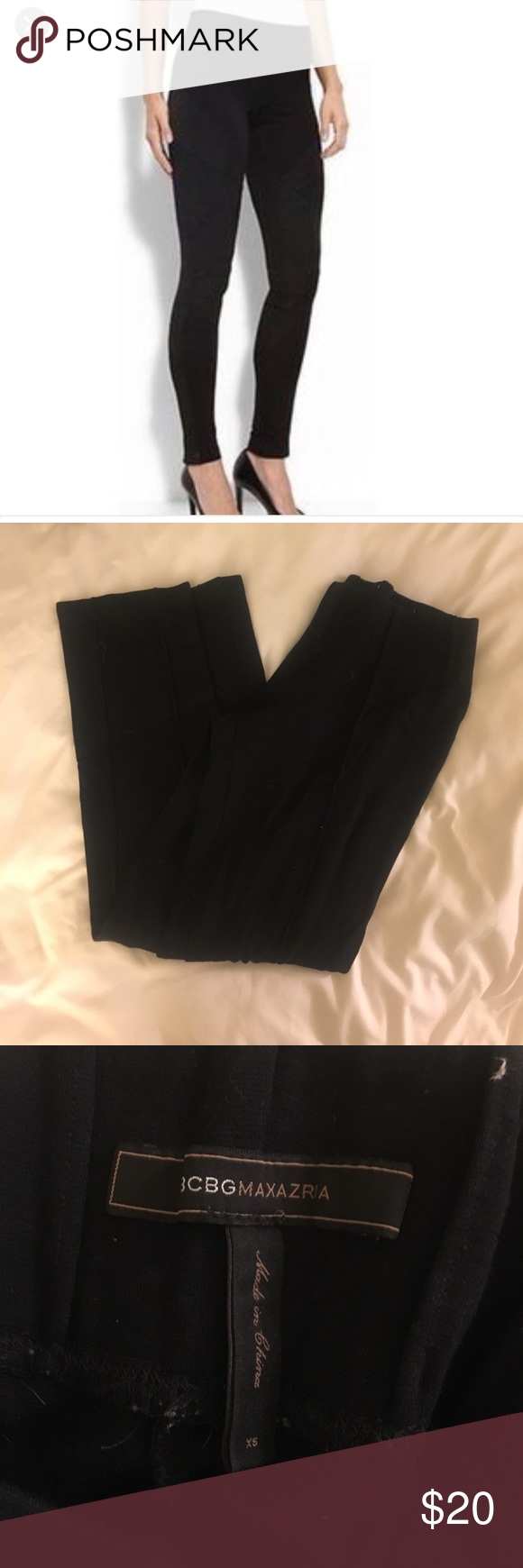"BCBGMaxazria legging Black cropped BCBGMaxazria legging. Size XS. I'm 5'6"" and they are just above ankle on me. Thick enough to wear to work! BCBGMaxAzria Pants Leggings"