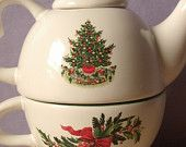 Vintage Pfatlzgraff single serve teapot and tea cup set, Pine tree and holly leaves, Christmas teapot,