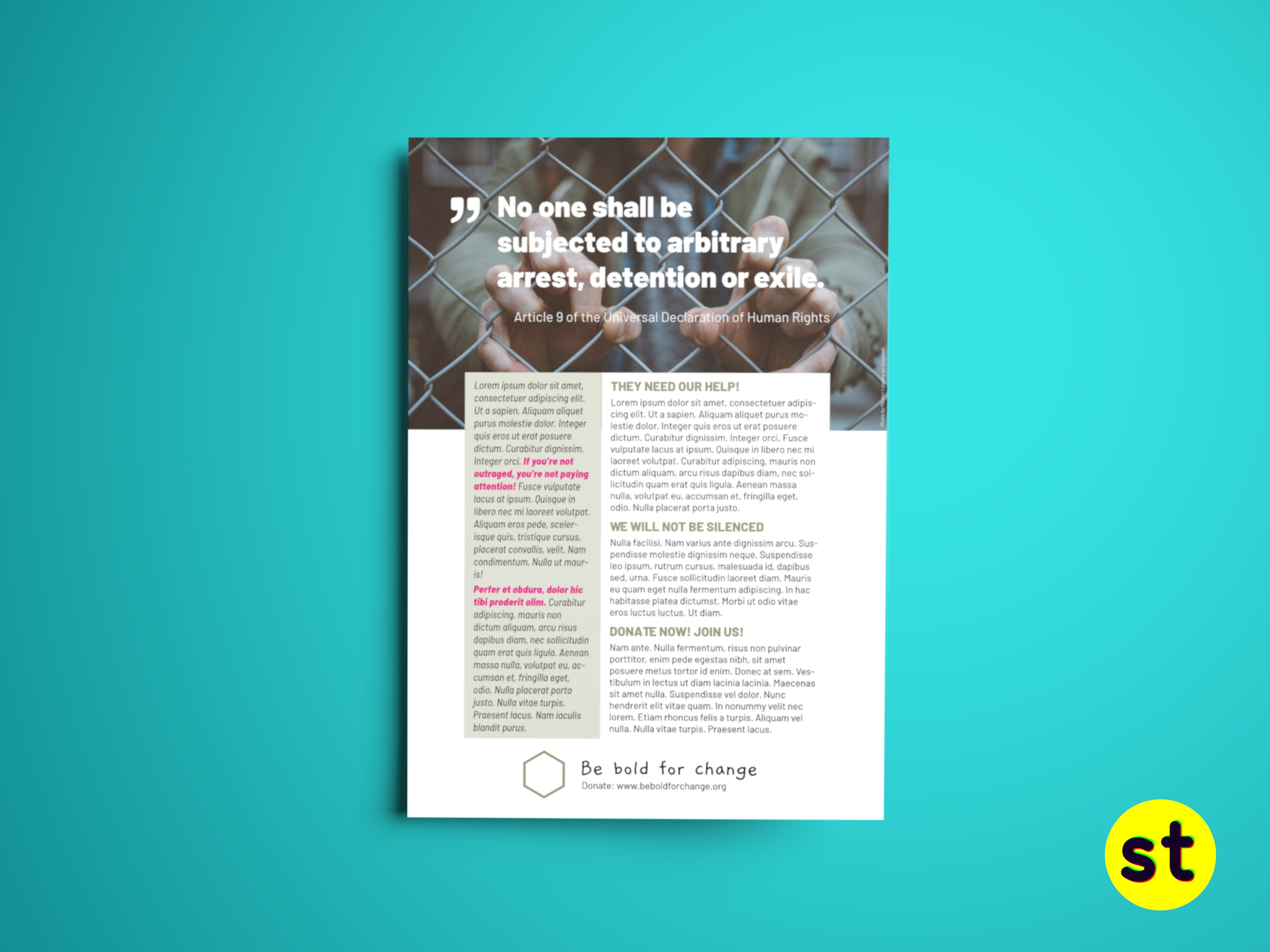 This Flyer Template Is Specially Themed For Ngos But Can Serve A Lot Of Purposes You Can Download Be Bold For Change And More Templates For Free We Re Makin