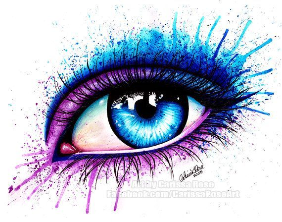 8x10 in stretched canvas print pop art colorful blue splatter eye eye by carissa rose is part of Eye painting - 8x10 in Stretched Canvas Print  Pop Art Colorful Blue Splatter Eye  Eye by Carissa Rose Beautifulart Makeup