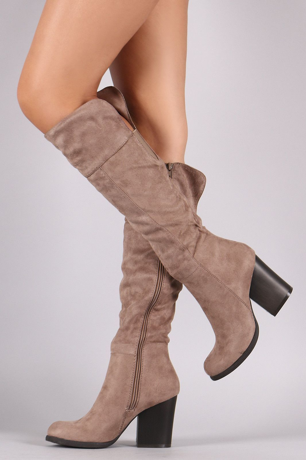 Bamboo Suede Chunky Heel Knee High Boots Zapatos