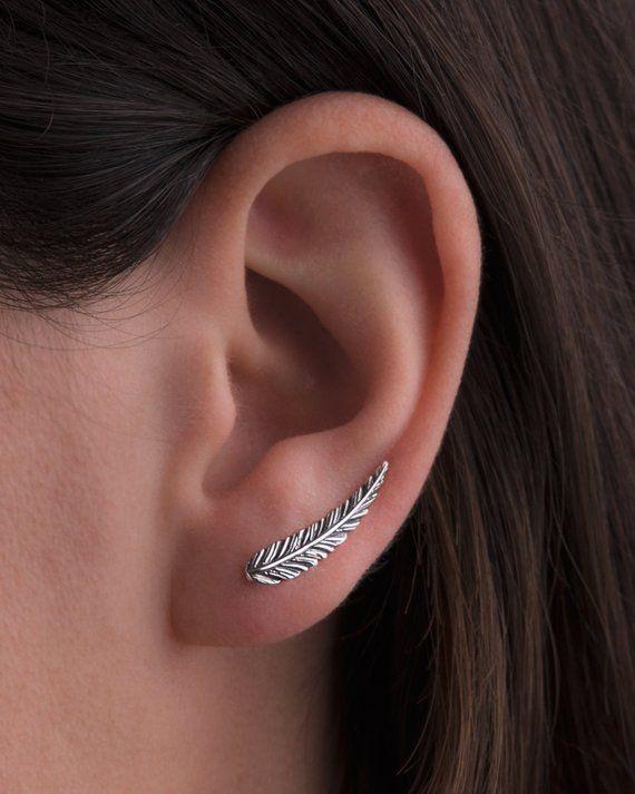 Feder Feather Indianer Design Ohrklemme Ohrringe Clip 925 Sterling Silber neu