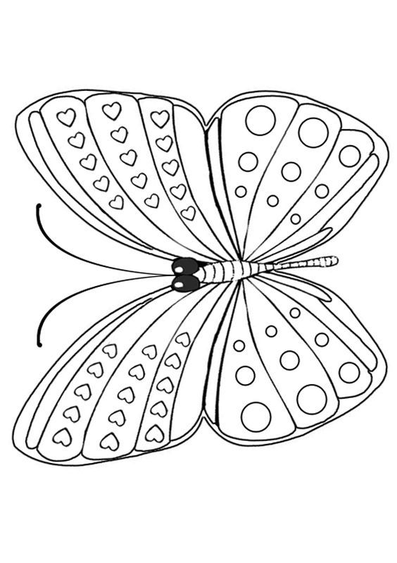 free online printable kids colouring pages basic butterfly
