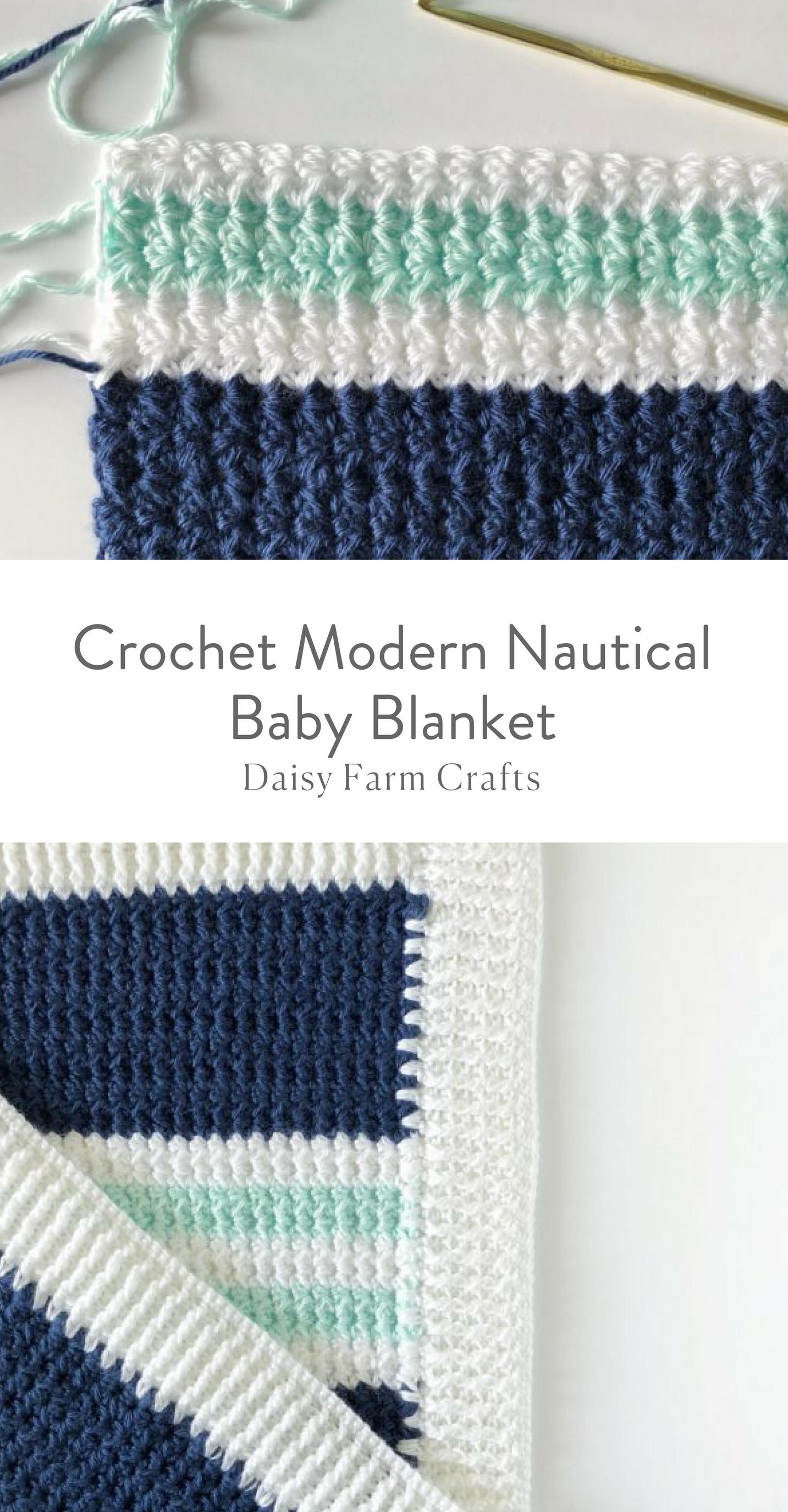 Free Pattern - Crochet Modern Nautical Baby Blanket | Crochet and ...