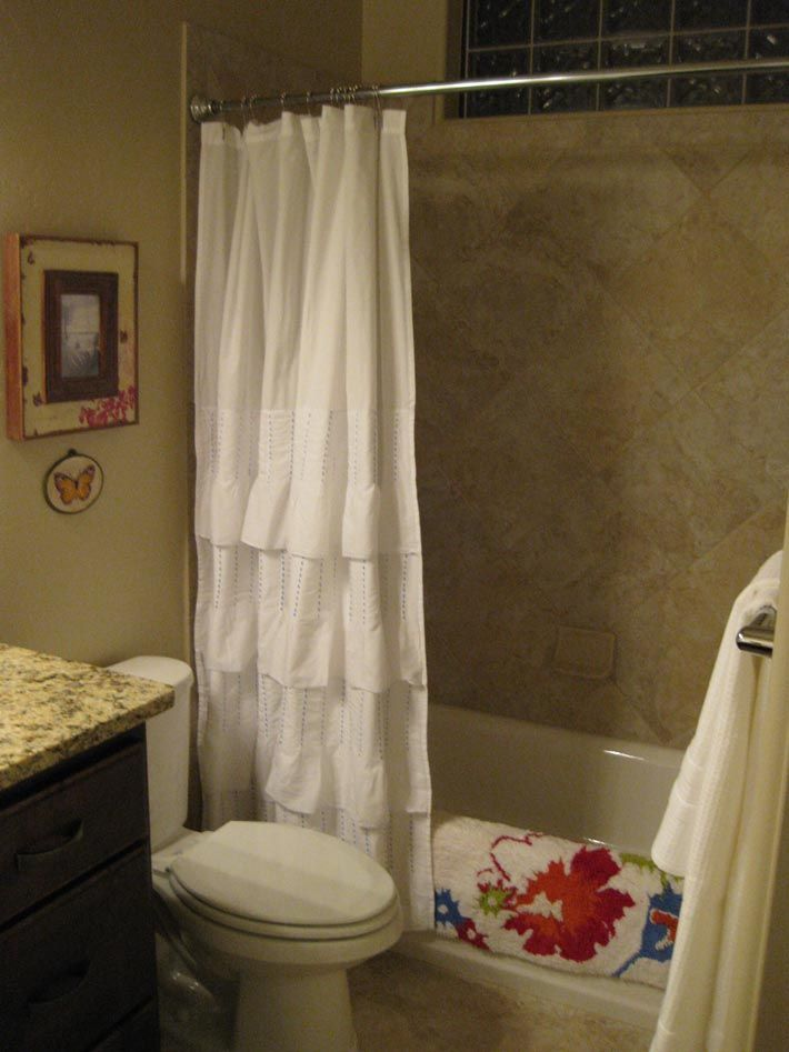 this is a beautiful shower curtain! White with ruffles----simple ...