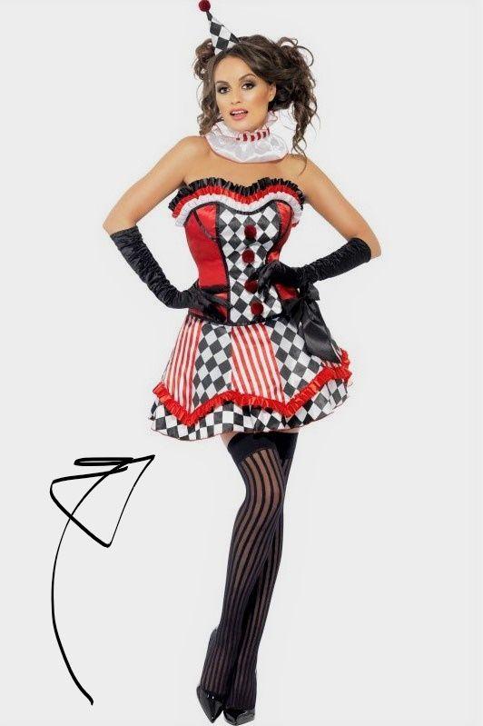 Sexy Cute Clown Kostum Schwarz Rot Weiss Perfekt Zu Einer Zikus