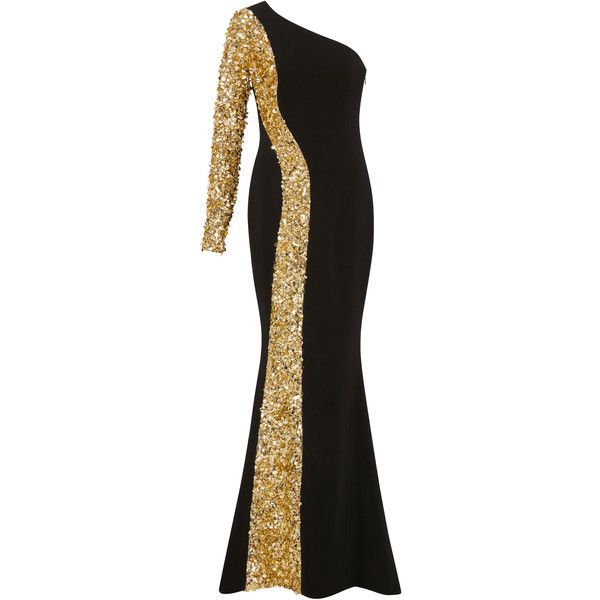 6adcf18c98 Elizabeth Kennedy One Shoulder Gown With Contrasting Sequin Embroidery  ( 7